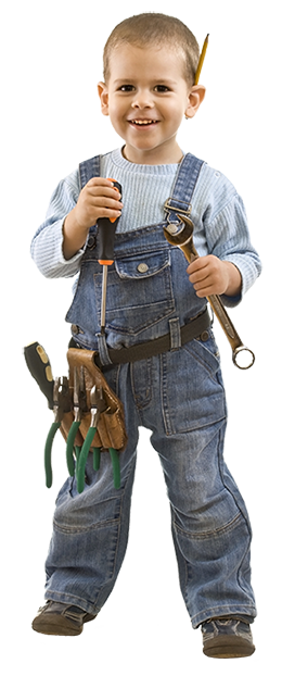 Boy with building tools