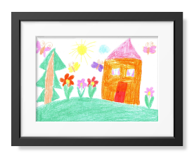 frame with child's drawing